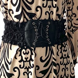 Accessories - Black Stretch Corset Tie Belt